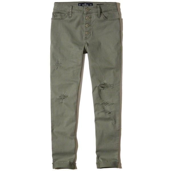 Hollister High-Rise Crop Super Skinny Pants ($45) ❤ liked on Polyvore featuring pants, capris, ripped light olive, high waisted trousers, high rise pants, high-waisted trousers, olive green pants and embroidered pants