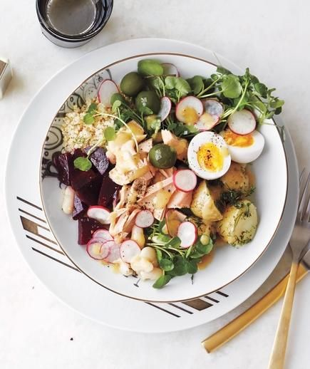 Tuna Health Bowl: Tuna, quinoa, steamed beets, steamed herb potatoes, watercress, olives, radishes, hard-boiled eggs, cannellini beans, mustard vinaigrette