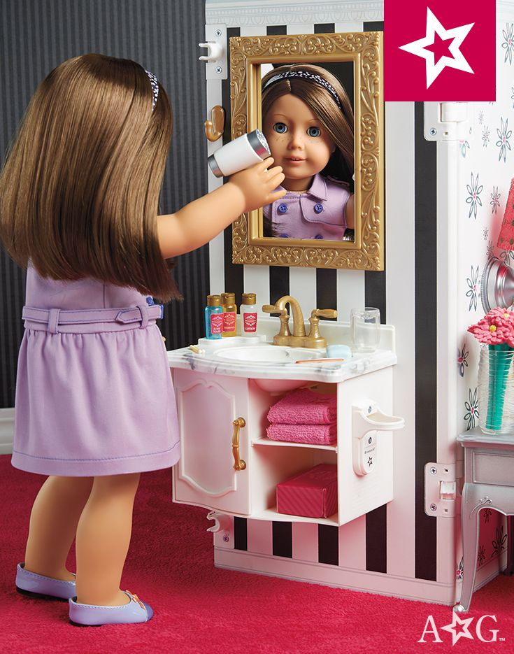 This doll-sized hotel offers two-sided play, and it folds up for easy storage. Comes with all the things you'd find in a real hotel room: ice bucket, mini fridge, hair dryer, and lots more! Features more than 50 pieces. $275