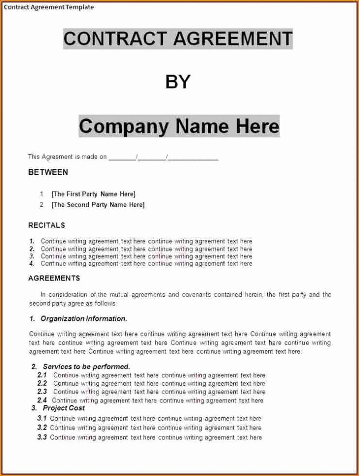 Effective Business Agreement Template Sample With
