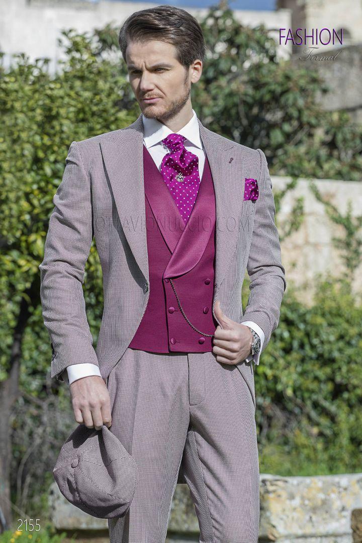 Vestito Matrimonio Uomo Con Cilindro : Vestito uomo sposo fashion in pied de poul con gilet fucsia cose