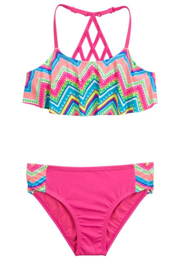 Chevron Flounce Bikini Swimsuit (original price, 32.90) available at #Justice