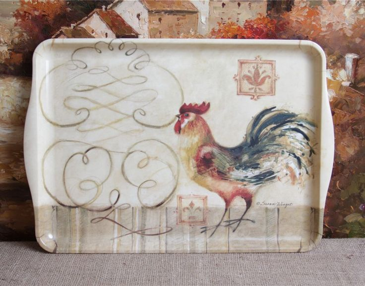 Susan Winget Rooster Serving Decorative Tray 18 inches #KellerCharles & 308 best Rooster Cake Plates Serving Trays Dishes \u0026 Bowls images ...