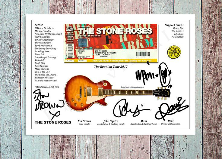 IAN BROWN STONE ROSES REUNION TOUR 2012 CONCERT TICKET STUB SIGNED PRINT 12X8 | eBay