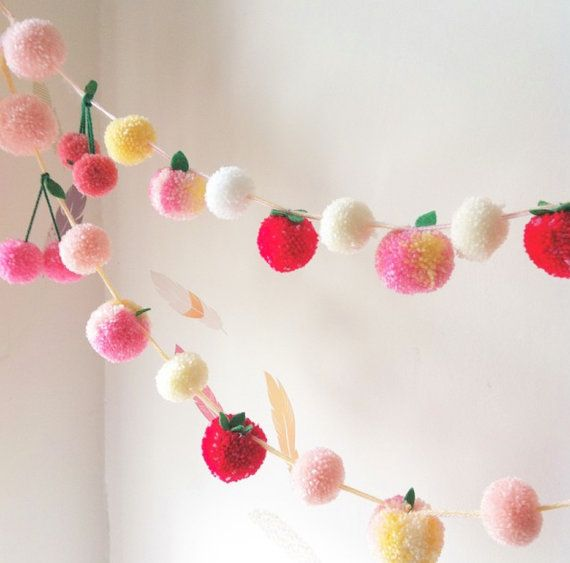 This listing is for a one of a kind, absolutely adorable yarn pom pom garland ! COLOURS WILL VARY! Adorned with peaches, strawberries and cherries;