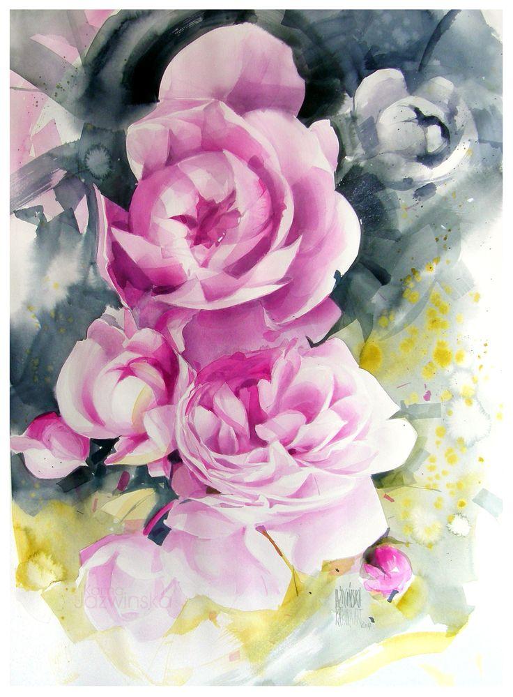 Karina Jaźwińska/ Watercolours/ Pink garden/ size: 70x50 cm