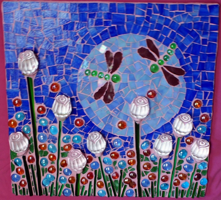 Mosaic - Dragonflies, moonlight and flowers