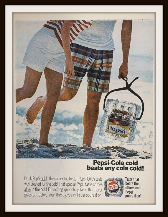 Pepsi-Cola cold beats any cola cold! Pepsi-Cola and Diet Pepsi-Cola. 1966 Pepsi-Cola Advertisement. Vintage beverage ad. Vintage Pepsi-Cola ad. Vintage Cola ad. Vintage Pepsi ad.