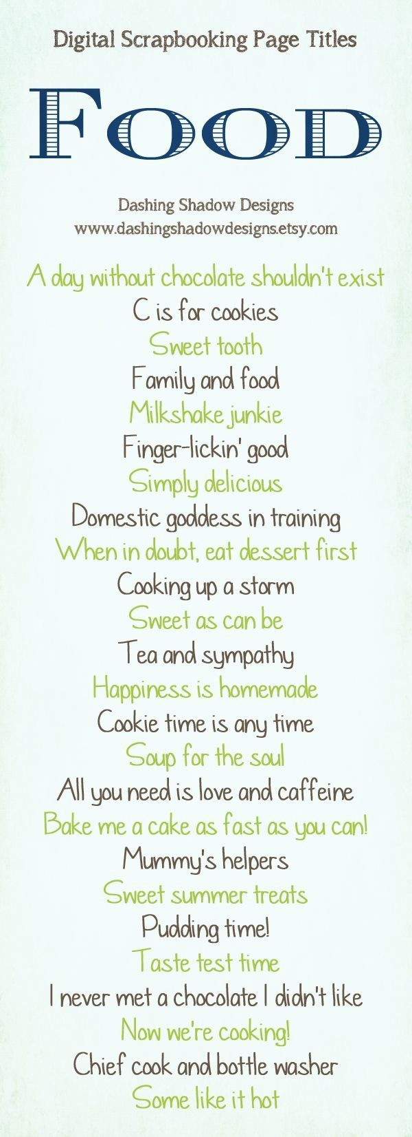 Scrapbook ideas and quotes - Scrapbook Page Title Ideas Glorious Food By Cassandra