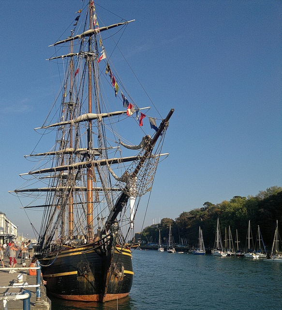 A three-masted sailing ship alongside the Custom House Quay in Weymouth Old Harbour, Dorset by Anguskirk, via Flickr