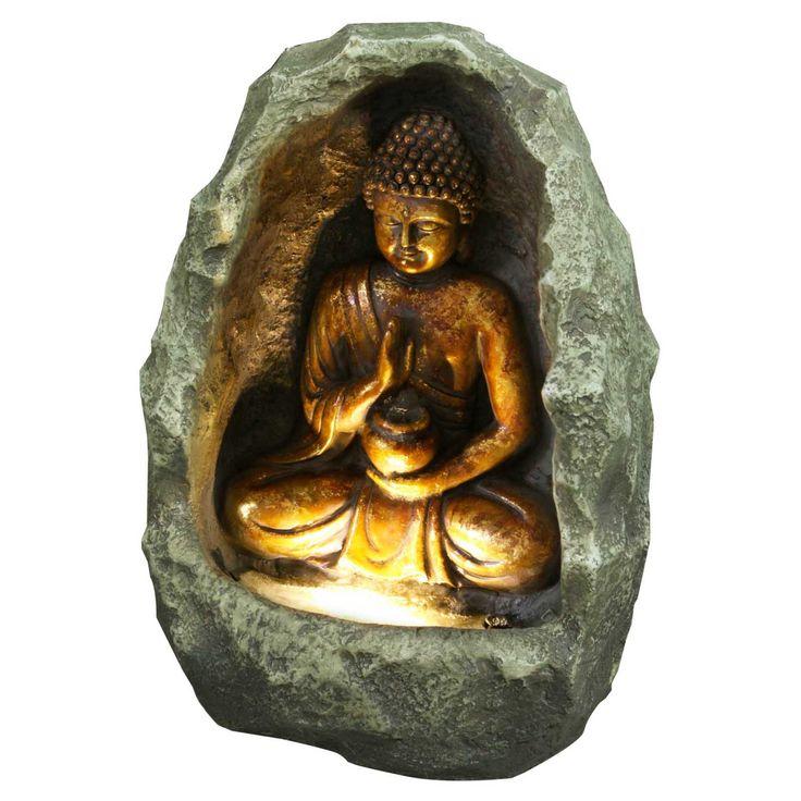 Hi-Line Golden Buddha Fountain with Light - 79485
