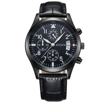 Just US$15.08, buy BIDEN B0008 Stylish Leather Band Men Watch online shopping at GearBest.com Mobile.