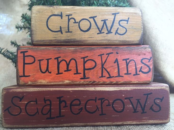 Primitive Country Crows Pumpkins Scarecrows 3pc Fall Shelf Sitter Wood Block Set #PrimitiveCountry