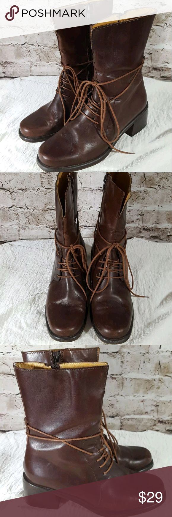 """JOAN & DAVID Vintage Brown Leather Lace-up Boots Joan and David Vintage Classy Combat Boot Eu size 36 US Womens size 5.5/6? Heel height 2""""? Hand made in Italy? Genuine leather Joan & David Shoes Ankle Boots & Booties"""
