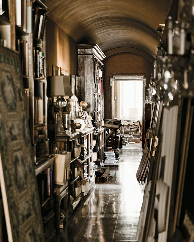 Archival materials line a corridor of the