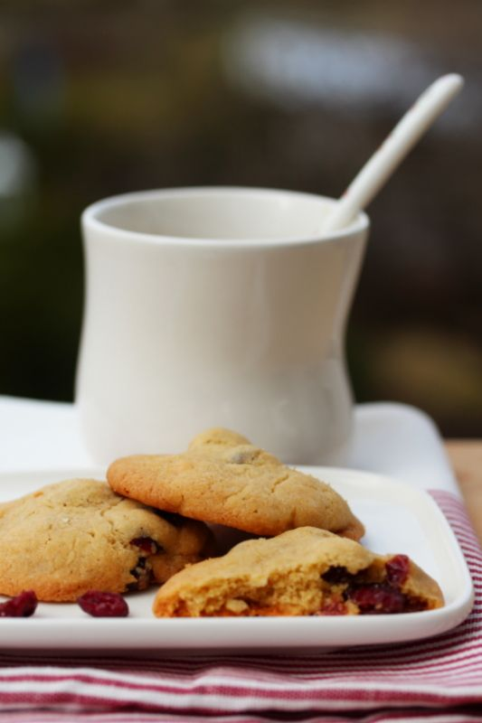 Cookies with cranberries and white chocolate