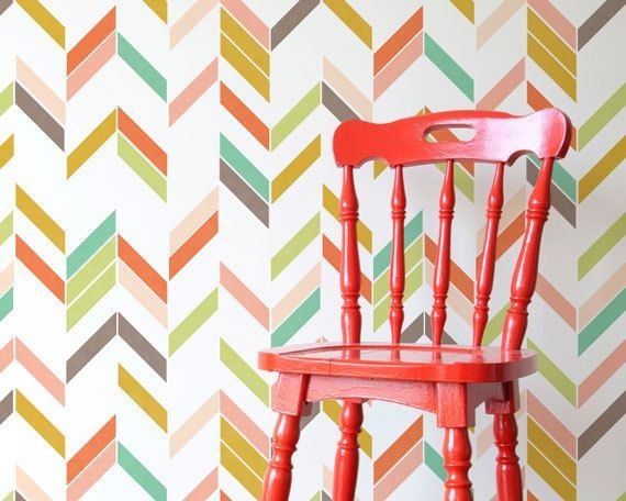 Large Graphic Herringbone Shuffle Allover Modern Wall Stencil for Easy Stenciled DIY Decor