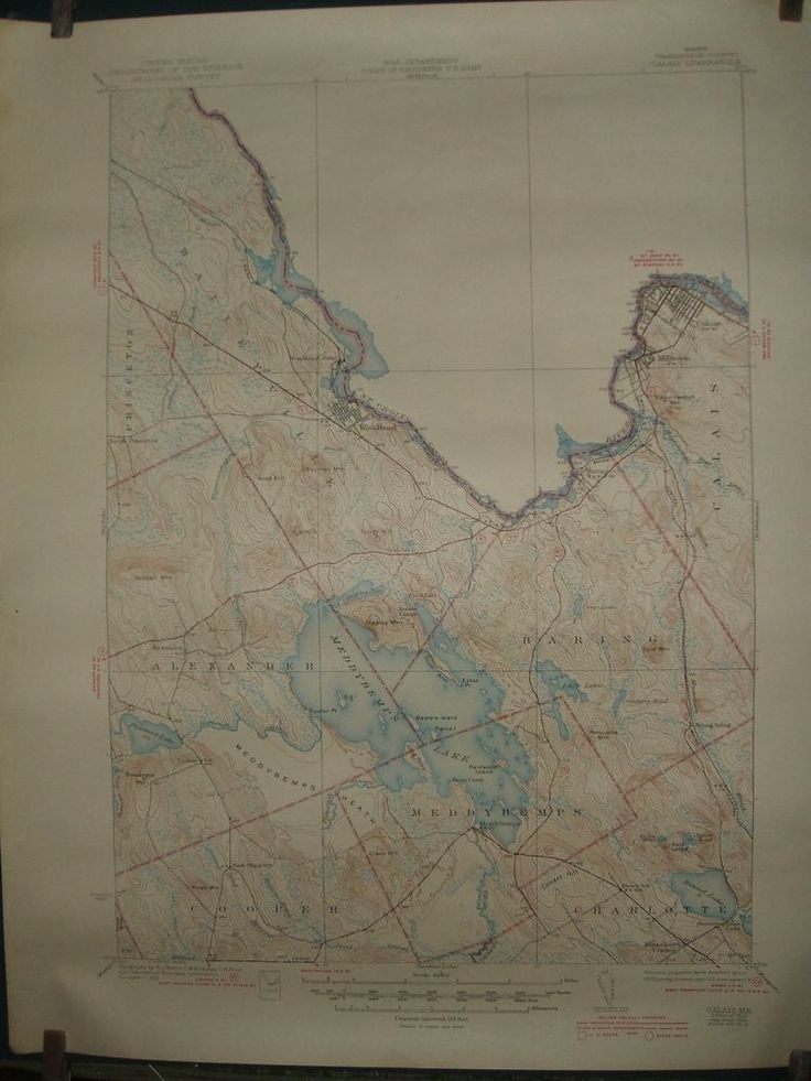 Vintage US Topographical Map Calais Maine 1944