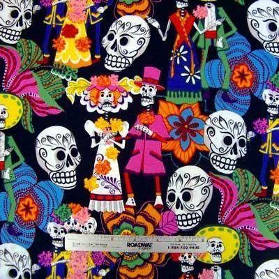 LOS NOVIOS impreso a tela tejida por Alexander Henry en una historia de color muy brillante de negro cuenta con un llamativo arte popular mexicano imprimir celebrando el día de los muertos, con la novia y el novio, en tonos de rojo, naranja, amarillo brillante, cal, hoja verde, aqua, azul, púrpura, rosa caliente, negro y blanco sobre fondo negro azabache. Inspirado en día de Jose Guadelope Posada de los muertos grabados. Ver cuarto y regla para la escala de tamaño.  TIPO de tejido y cuidado…