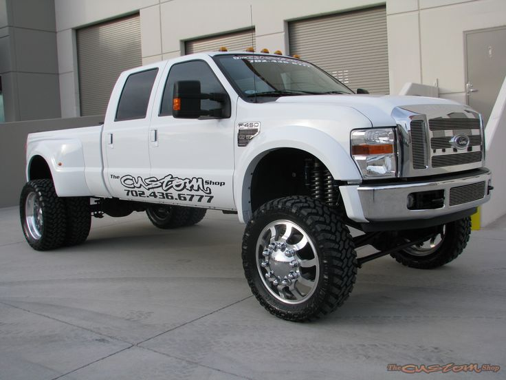 lifted white Ford F-450 truck