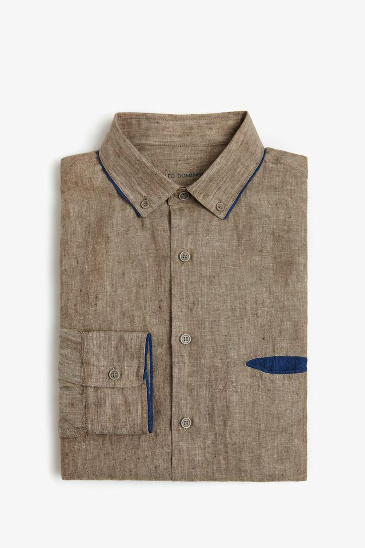 Camisa lino contraste | Adolfo Dominguez