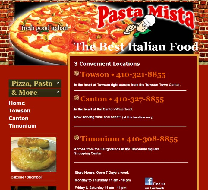 Pass da pasta, Mista! A prototypical example of what not to do in web page design. The Pizza, Pasta & More tabs look like they could be links, but they are not. The main navigation begins below that, followed by several low quality photos of menu items. Perhaps the most unusual thing about this page is that it autoplays a song. The music will likely annoy some visitors, especially since there is no way to stop the music. But I have to admit, it's got a hot beat. Why no iTunes download link?