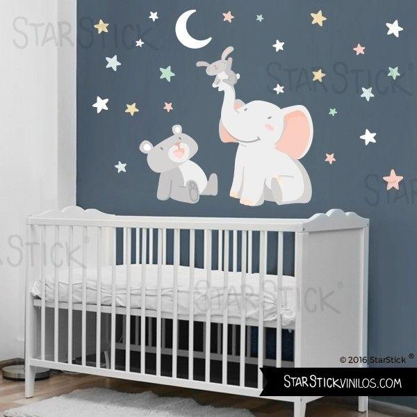 Vinilo bebé animales tocando la luna blanca - Vinilos ...