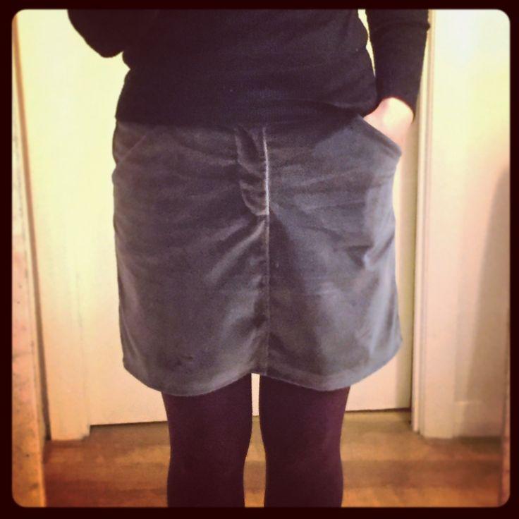 Grainline Studio Moss Skirt in grey velvet from Goldhawk Road