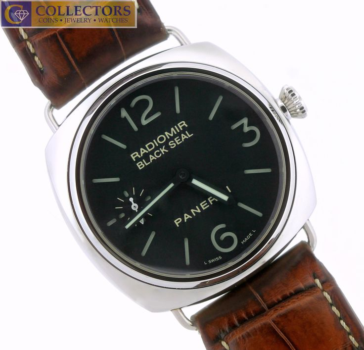MINT Panerai Black Seal Radiomir Pam 183 J Stainless 45mm Brown Crocodile Watch