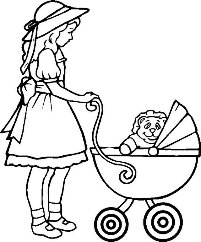 Mom Pushing Baby Carriage