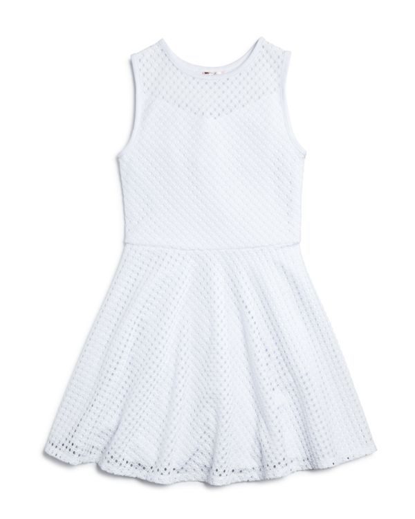 Sally Miller Girls' Diamond-Pattern Crocheted Dress - Sizes S-xl