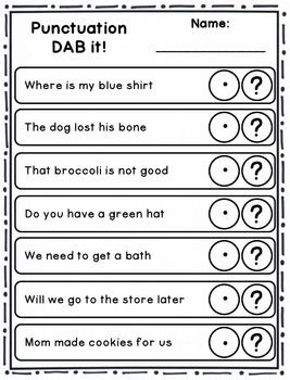 DAB it Activities - Punctuation (periods/question marks, statements/questions)