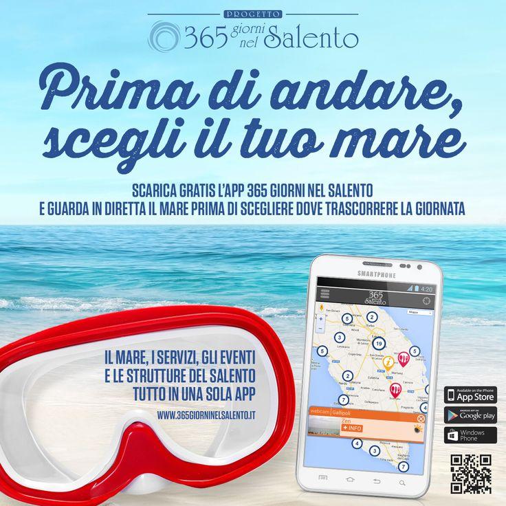 Prima di andare, #scegli il tuo #mare! #Scarica #gratis l'#app di #365giorniNelSalento e guarda in #streaming le #webcam delle #spiagge più belle del #Salento... Dall'#Adriatico allo #Ionio #OcchioAlleSpiagge e' un servizio #esclusivo del progetto 365 giorni nel Salento di #Password AD Srl.  #Download on #Google Play for #iOS e #Android or click on http://www.365giorninelsalento.it/it/w/l_app