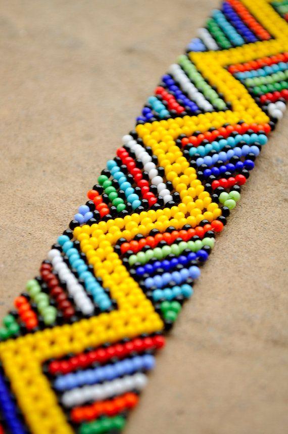Yellow African braceletZigzag beaded by akwaabaAfrica on Etsy