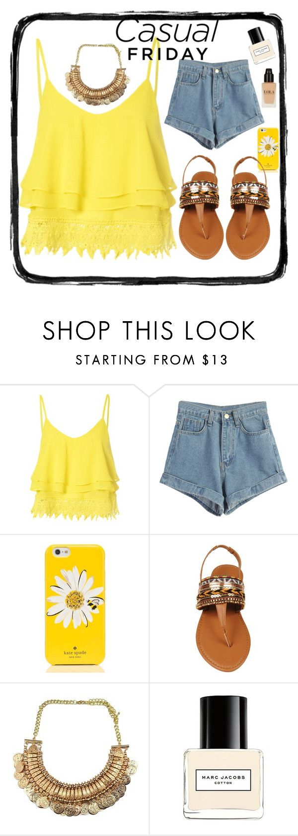 """""""casual friday 2"""" by camilazeballo on Polyvore featuring moda, Glamorous, WithChic, Kate Spade, Black Rivet y Marc Jacobs"""
