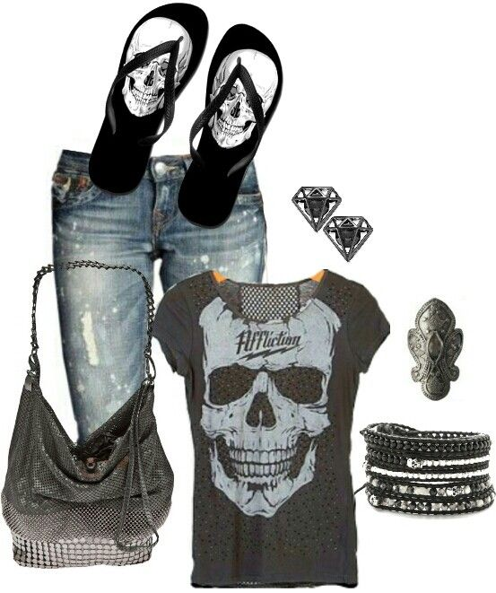 Women's fashion edgy skull outfit