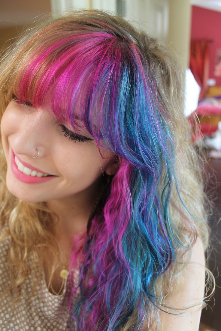 pink and blue hair colorful