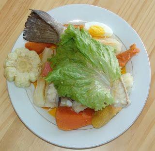 Ingredientes (porción para 6 personas): 1 pescado salado 1 1/2 kilo de papa blanca 1/2 kilo de cebolla, cortada gruesa 1/2 kilo de y...