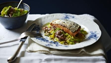 BBC - Food - Recipes : Grilled salmon, braised cabbage with bacon and onions