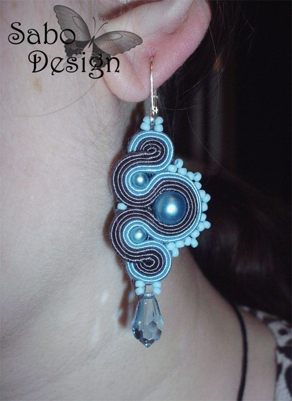 Blue Dragons - soutache earrings, handmade, embroidered in light blue and dark…