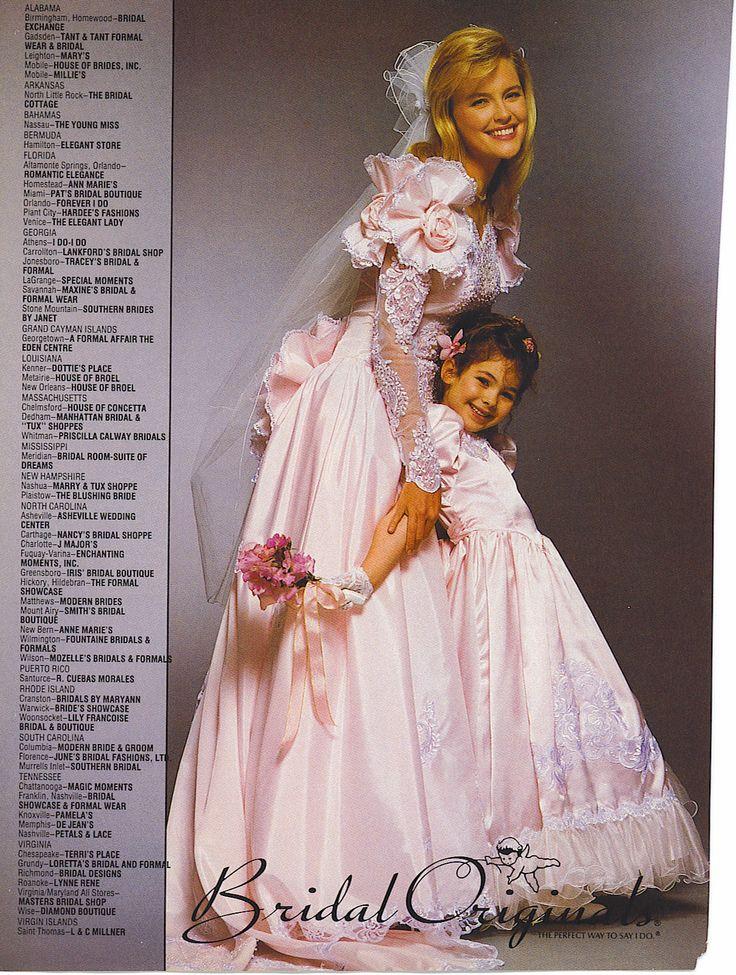 90 S Vintage Pink Bridal Originals Wedding Gown Rosa