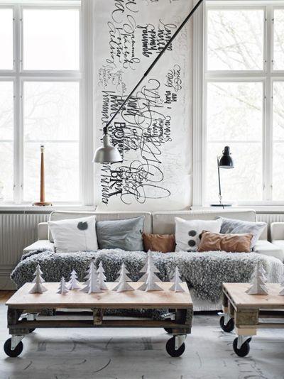 livingroom - scandinavian  - pallet - woonkamer - Scandinavisch kerst