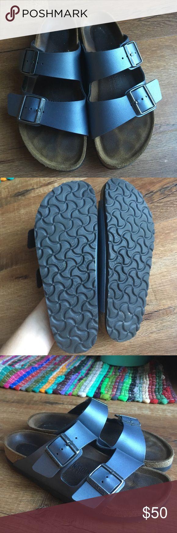 Birkenstock metallic Blue Sandals Suede footbed, minimum wear, soles are like new. Birkenstock Shoes Sandals