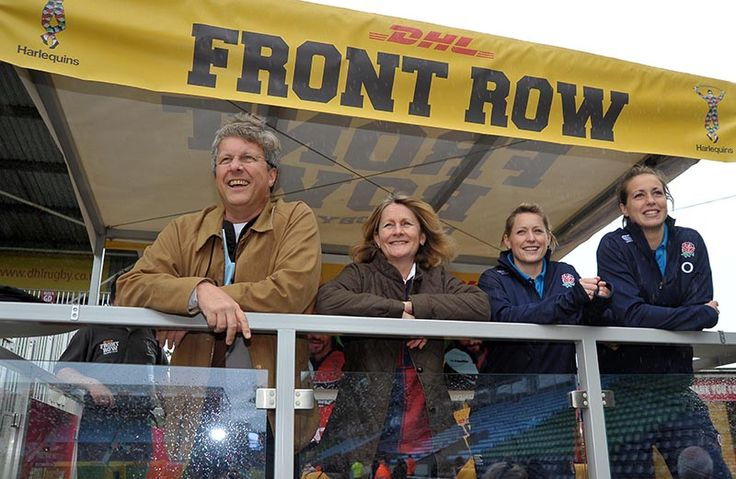 England international players Emily Scarratt and Natasha Hunt & our #DHLFrontRow winners watching Harlequins v Sale Sharks at The Stoop on 26th October