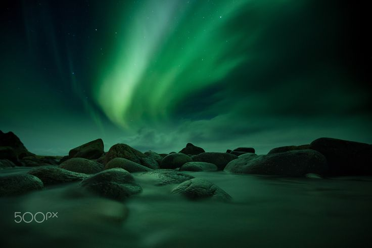Bleik - aurora - On my knees in a small river trying to capture the great northern lights.