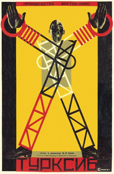 This is a constructivism poster of a man with building materials for legs and arms. I chose this because it shows how much they are trying to promote Russian constructivism by taking the limbs of a man and replacing them with building blocks.