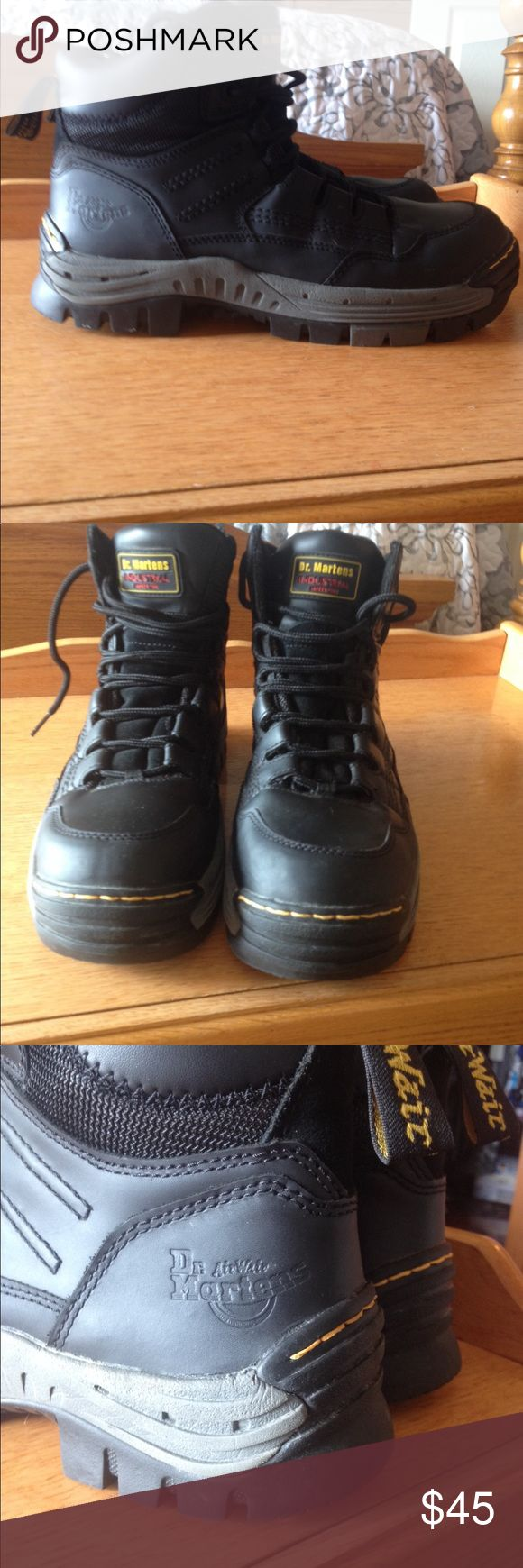 Dr. Martens industrial boots Men's size 9 medium Dr Martens industrial boots. Safety toe, slip resistant, no wear or smell, inserts replaced with Dr Scholls. Make offer if don't like price. Dr Martens Shoes Boots