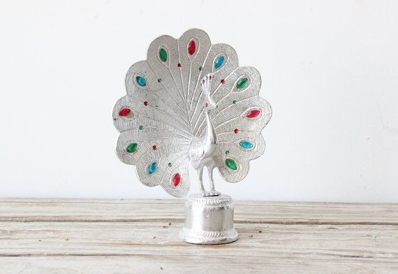 peacock cake topper | Silver Jeweled Peacock Cake Topper by GallivantingGirls on Etsy