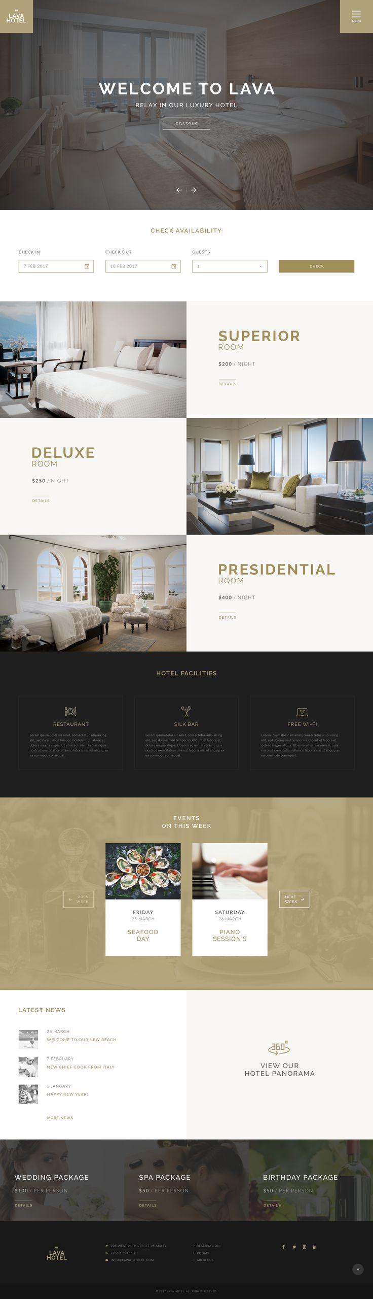 LAVA - Luxury Hotel PSD Template #hostel #hotel #luxury • Download ➝ https://themeforest.net/item/lava-luxury-hotel-psd-template/19215707?ref=pxcr