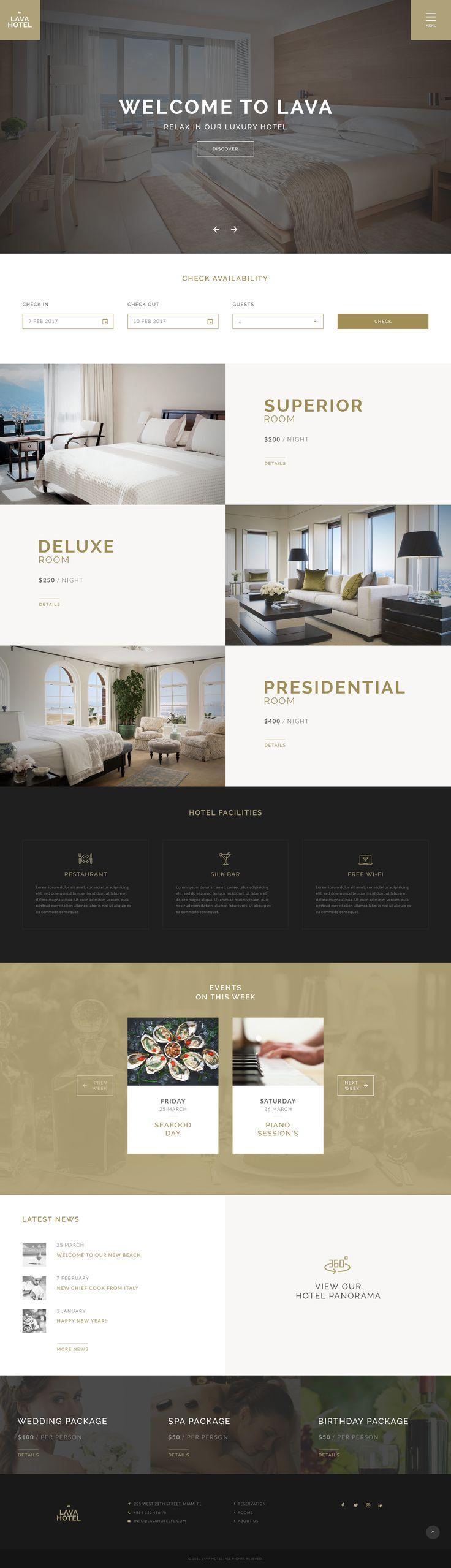 LAVA - Luxury Hotel PSD Template #hostel #hotel #luxury • Download ➝ https://themeforest.net/item/lava-luxury-hotel-psd-template/19215707?ref=pxcr